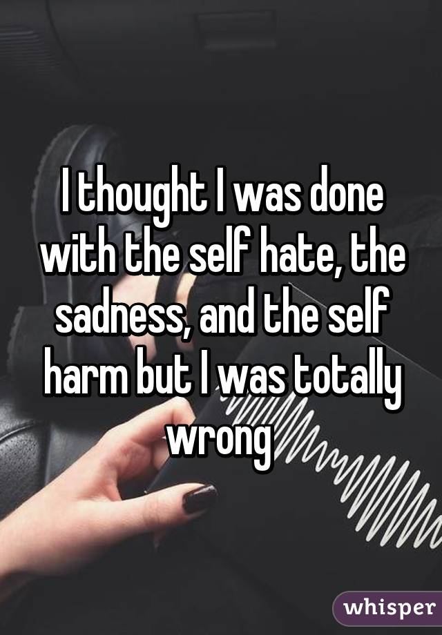 I thought I was done with the self hate, the sadness, and the self harm but I was totally wrong