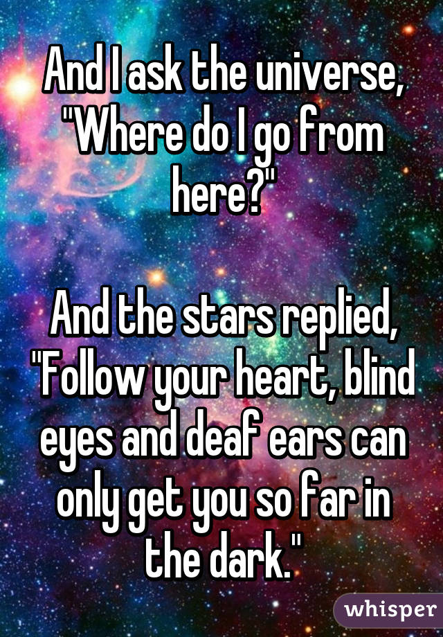 """And I ask the universe, """"Where do I go from here?""""  And the stars replied, """"Follow your heart, blind eyes and deaf ears can only get you so far in the dark."""""""