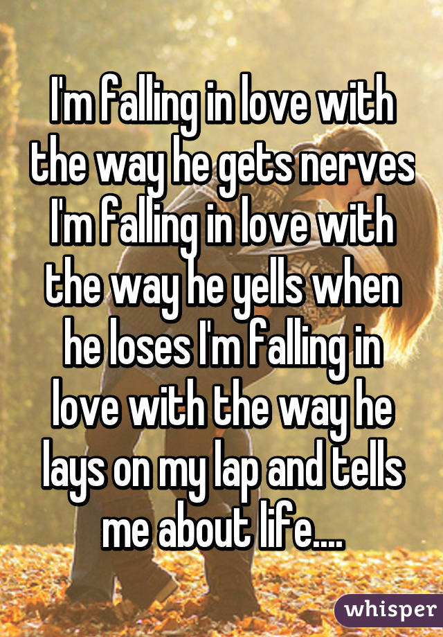 I'm falling in love with the way he gets nerves I'm falling in love with the way he yells when he loses I'm falling in love with the way he lays on my lap and tells me about life....