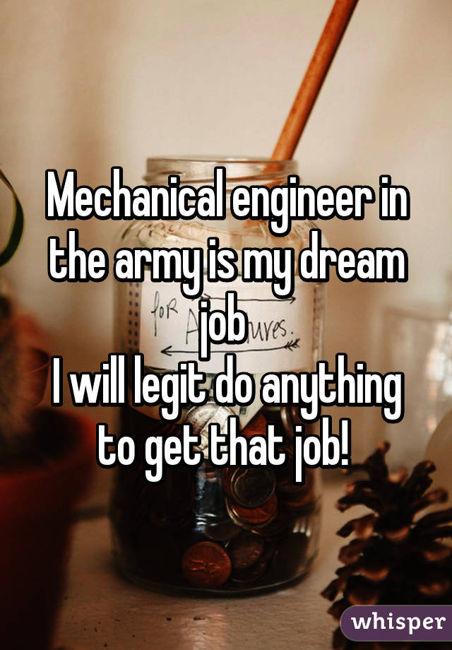 Mechanical engineer in the army is my dream job  I will legit do anything to get that job!
