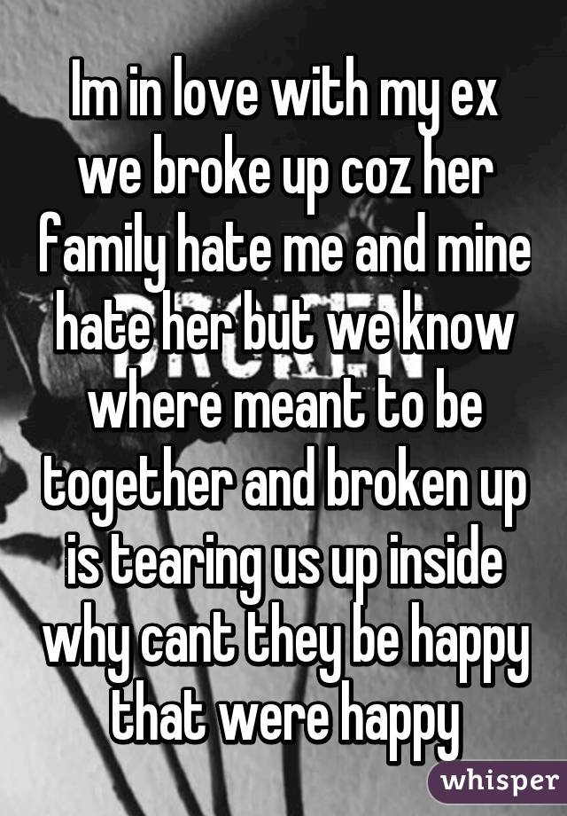 Im in love with my ex we broke up coz her family hate me and mine hate her but we know where meant to be together and broken up is tearing us up inside why cant they be happy that were happy