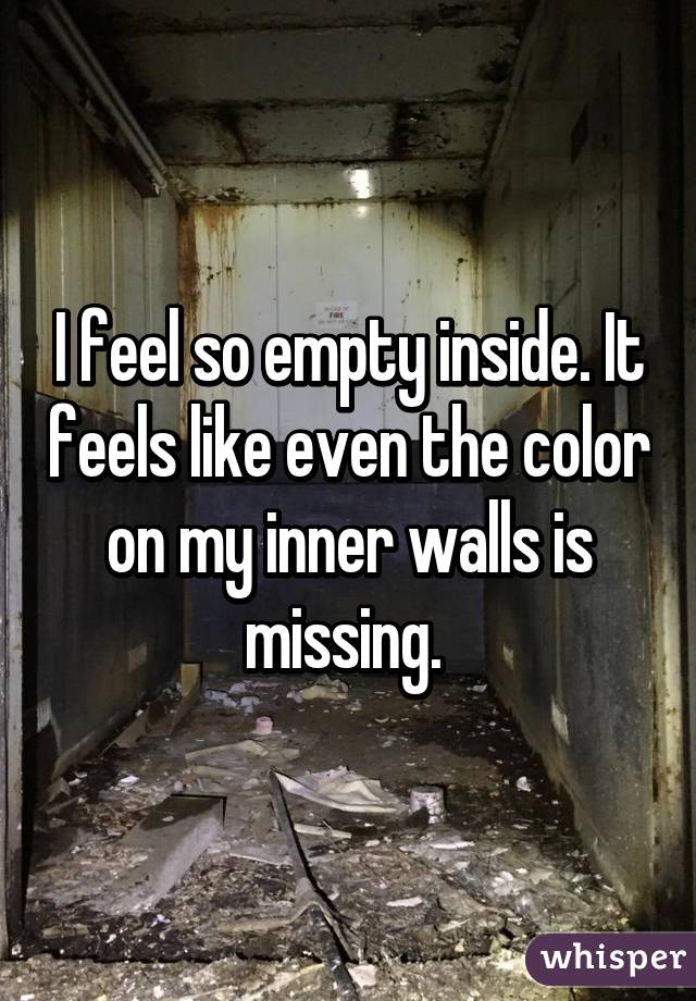 I feel so empty inside. It feels like even the color on my inner walls is missing.
