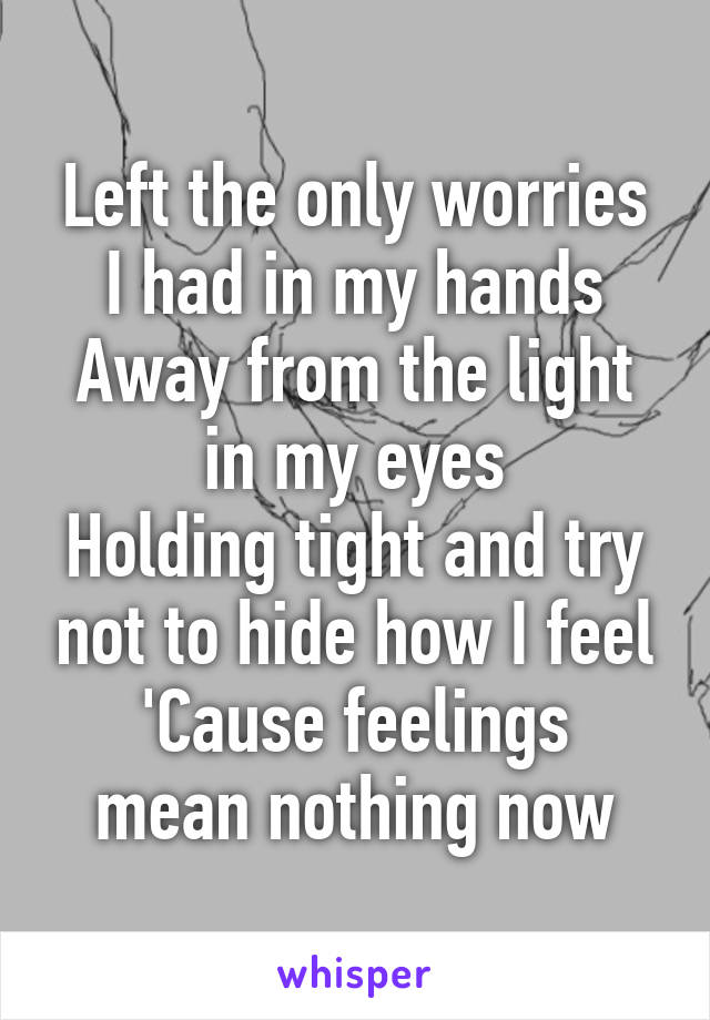Left the only worries I had in my hands Away from the light in my eyes Holding tight and try not to hide how I feel 'Cause feelings mean nothing now