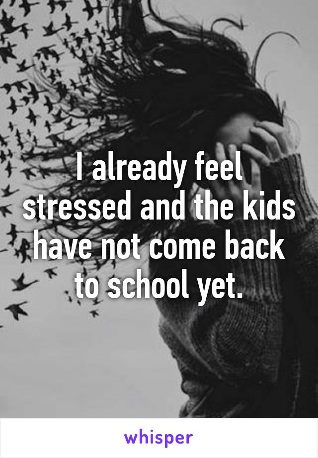 I already feel stressed and the kids have not come back to school yet.