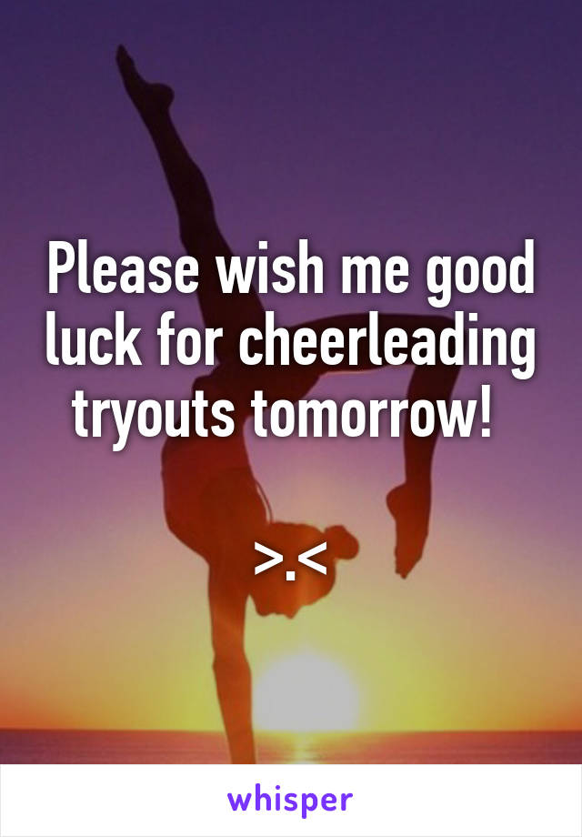 Please wish me good luck for cheerleading tryouts tomorrow!   >.<