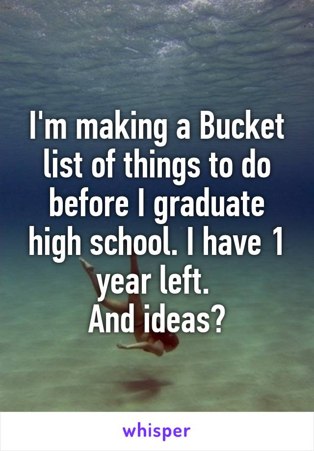 I'm making a Bucket list of things to do before I graduate high school. I have 1 year left.  And ideas?