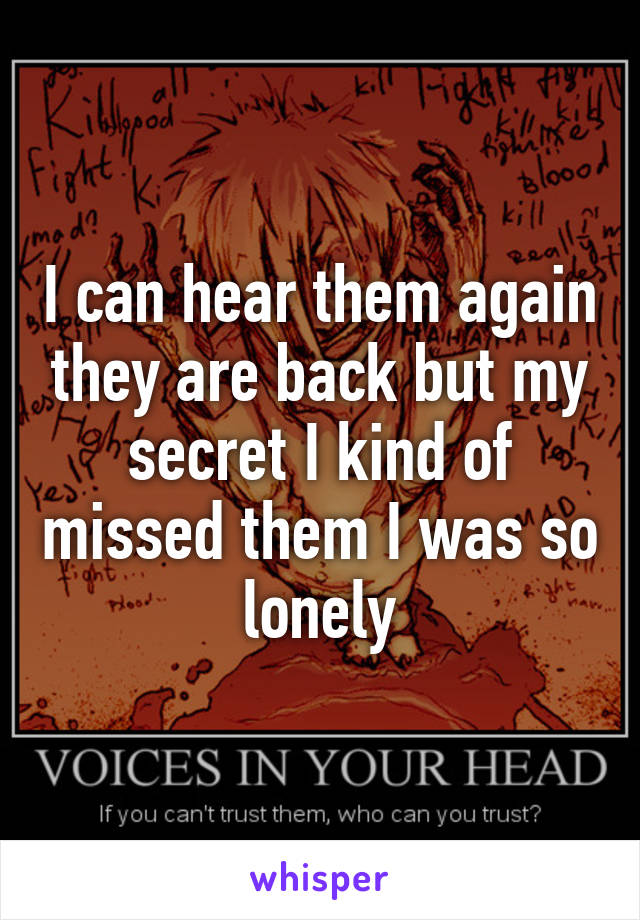 I can hear them again they are back but my secret I kind of missed them I was so lonely