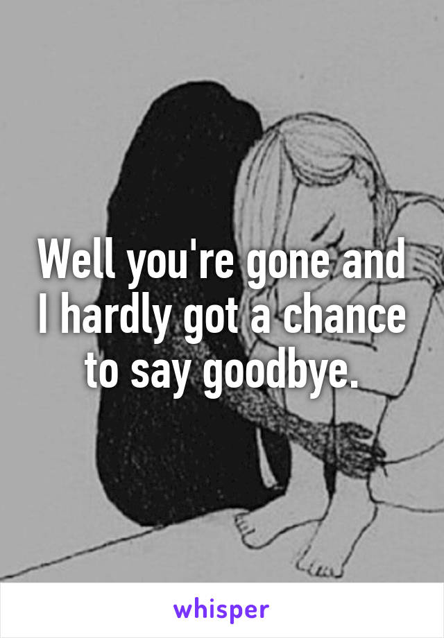 Well you're gone and I hardly got a chance to say goodbye.