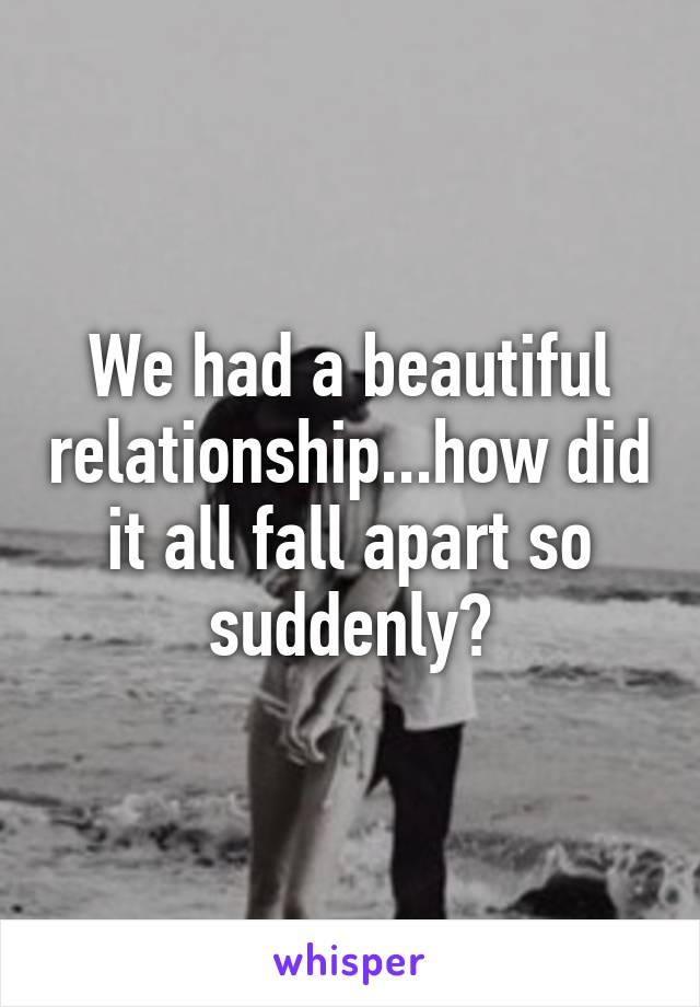 We had a beautiful relationship...how did it all fall apart so suddenly?