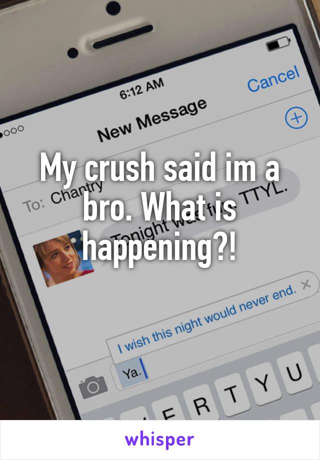 My crush said im a bro. What is happening?!