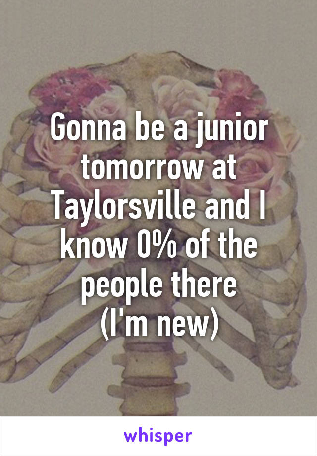 Gonna be a junior tomorrow at Taylorsville and I know 0% of the people there (I'm new)
