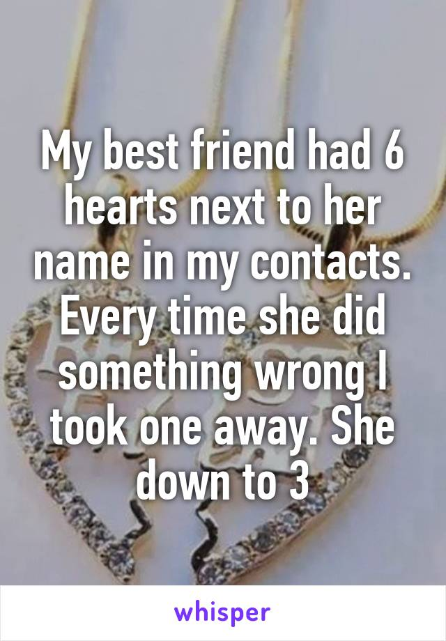 My best friend had 6 hearts next to her name in my contacts. Every time she did something wrong I took one away. She down to 3
