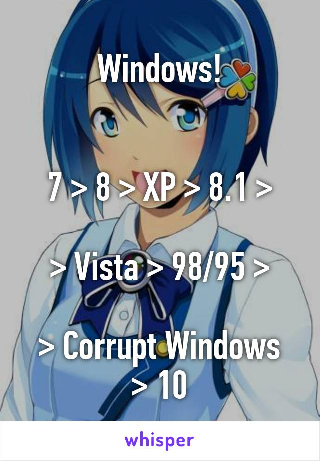 Windows!   7 > 8 > XP > 8.1 >  > Vista > 98/95 >  > Corrupt Windows > 10