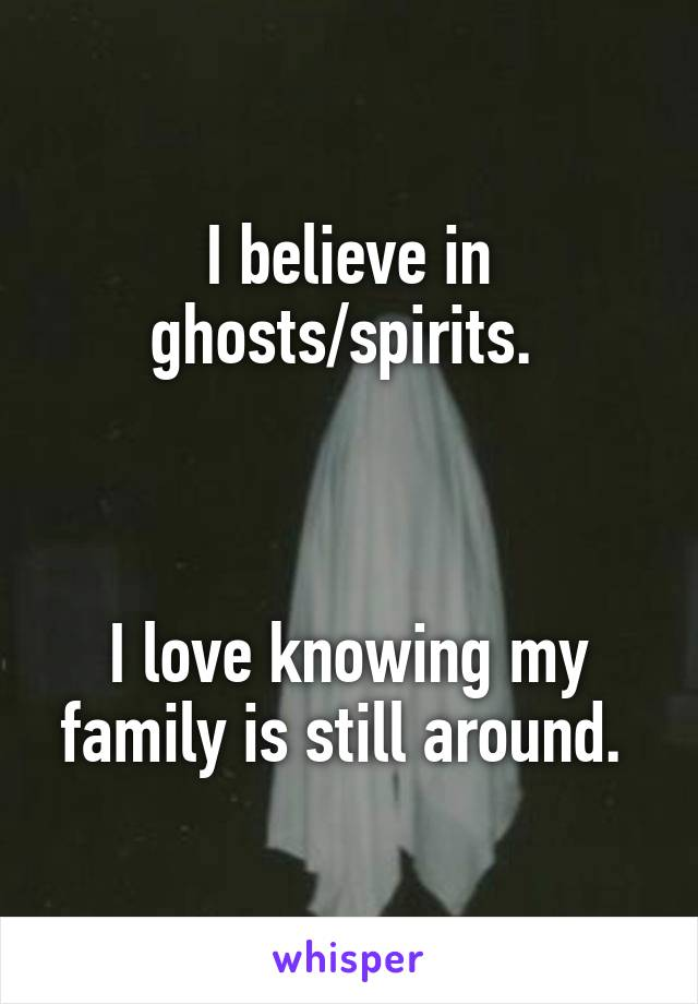 I believe in ghosts/spirits.     I love knowing my family is still around.