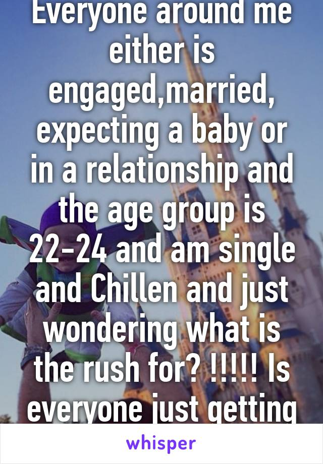 Everyone around me either is engaged,married, expecting a baby or in a relationship and the age group is 22-24 and am single and Chillen and just wondering what is the rush for? !!!!! Is everyone just getting old fast on me!!!