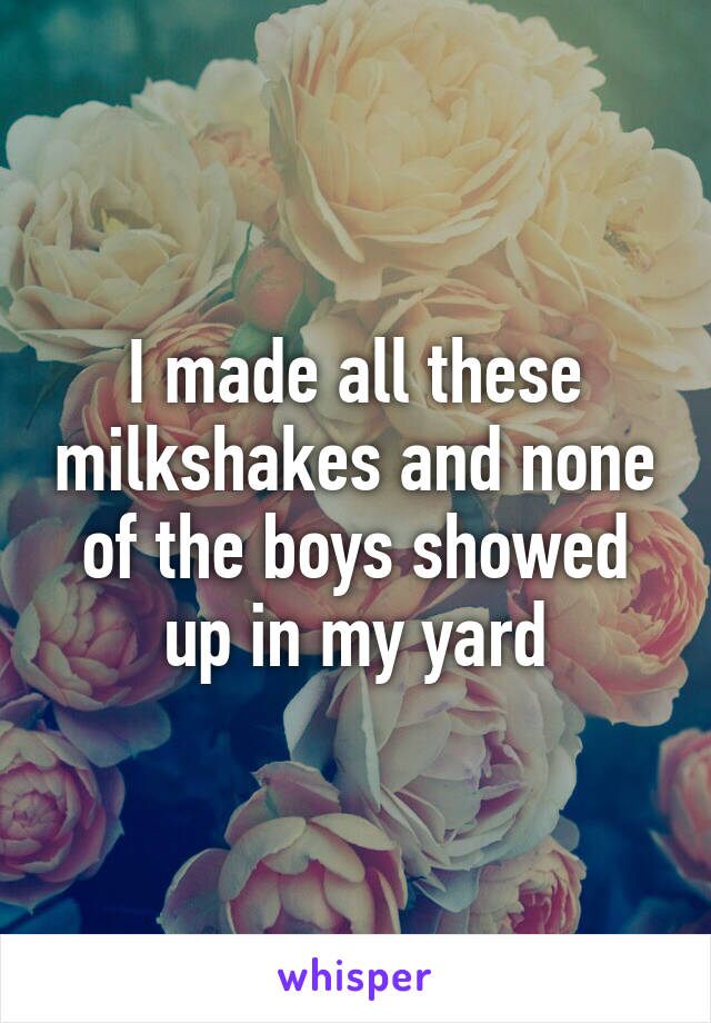 I made all these milkshakes and none of the boys showed up in my yard