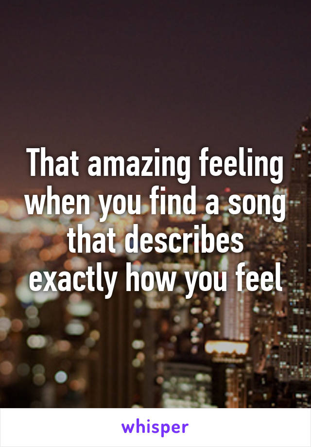 That amazing feeling when you find a song that describes exactly how you feel
