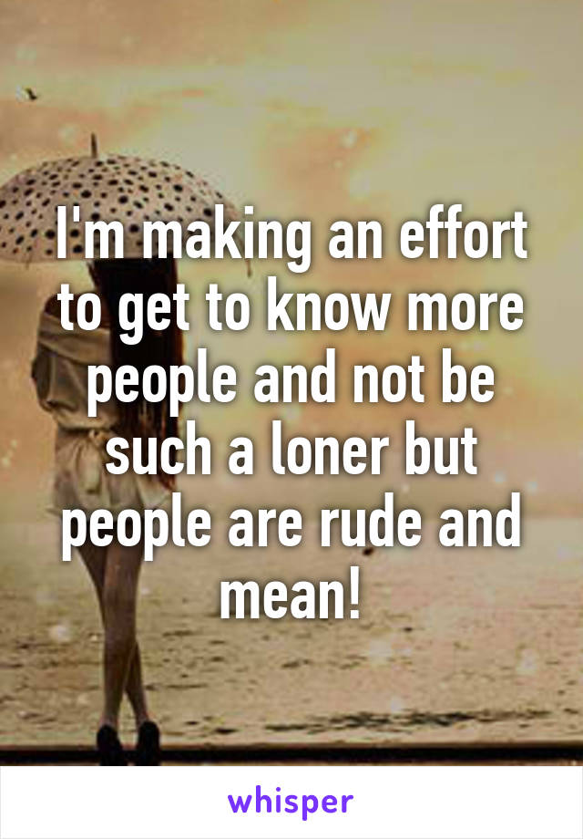 I'm making an effort to get to know more people and not be such a loner but people are rude and mean!