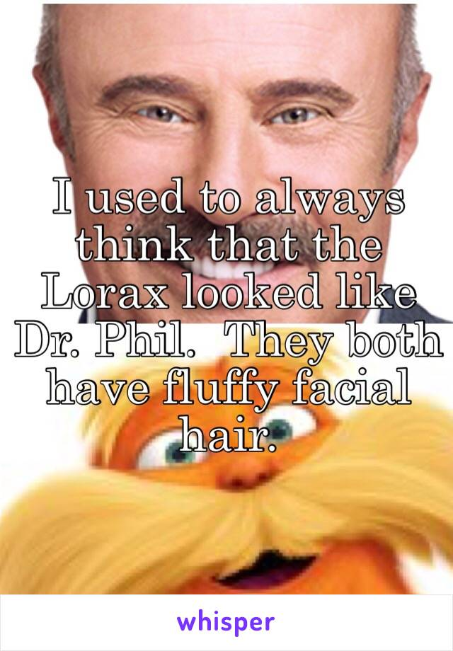 I used to always think that the Lorax looked like Dr. Phil.  They both have fluffy facial hair.