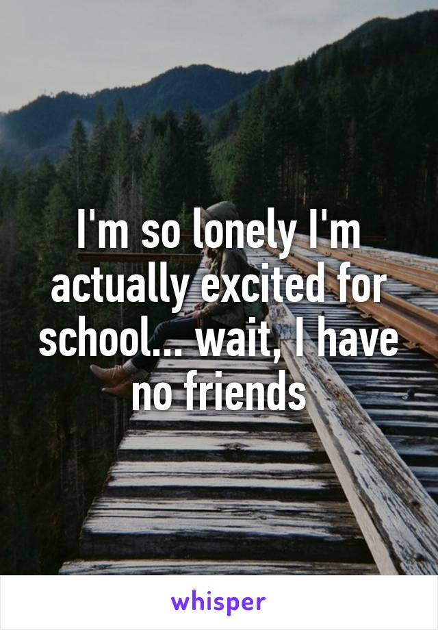 I'm so lonely I'm actually excited for school... wait, I have no friends