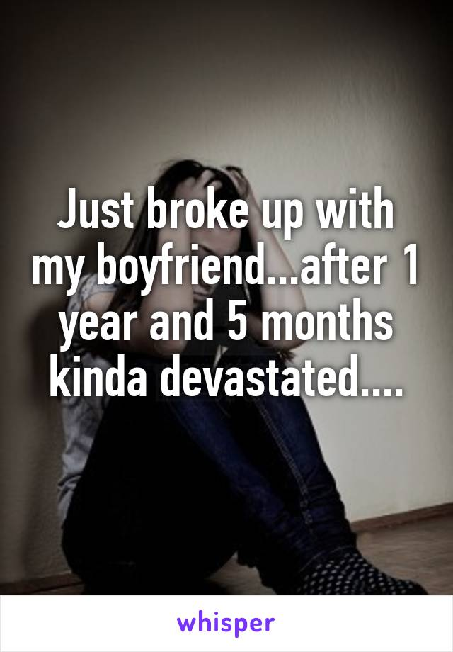 Just broke up with my boyfriend...after 1 year and 5 months kinda devastated....