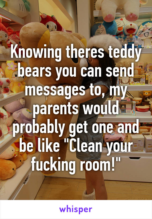 """Knowing theres teddy bears you can send messages to, my parents would probably get one and be like """"Clean your fucking room!"""""""