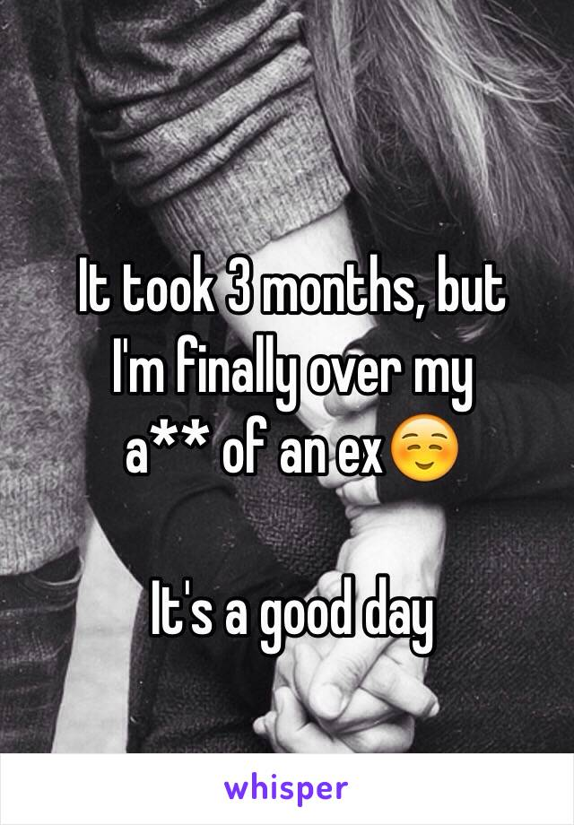 It took 3 months, but I'm finally over my a** of an ex☺️  It's a good day