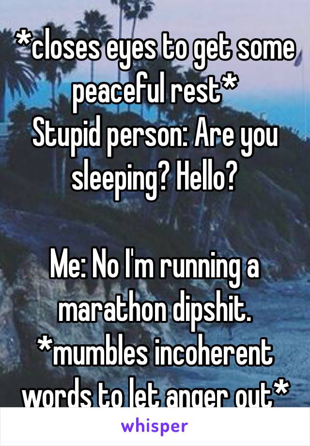 *closes eyes to get some peaceful rest* Stupid person: Are you sleeping? Hello?  Me: No I'm running a marathon dipshit.  *mumbles incoherent words to let anger out*