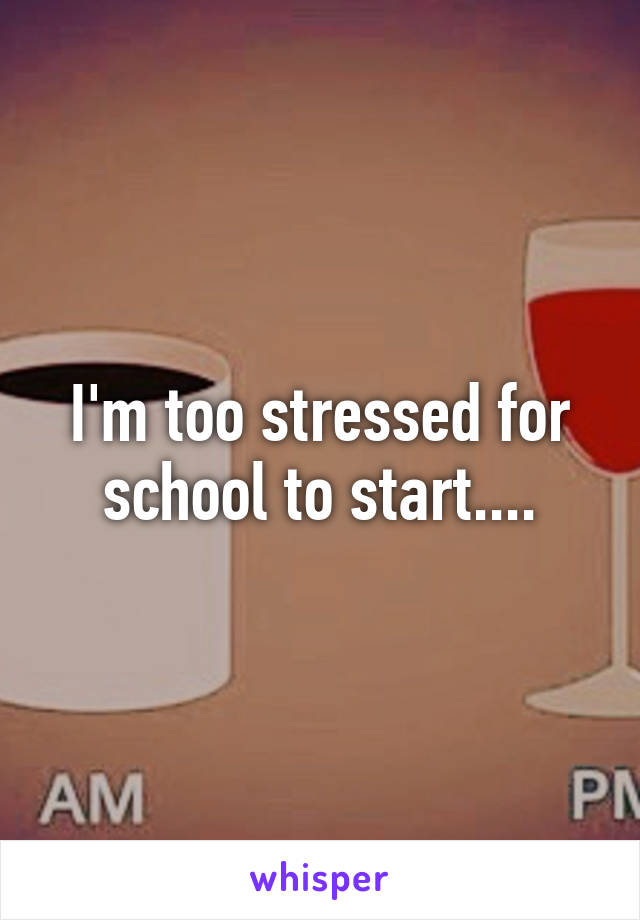I'm too stressed for school to start....