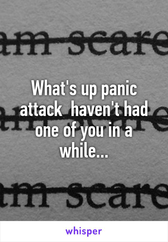 What's up panic attack  haven't had one of you in a while...