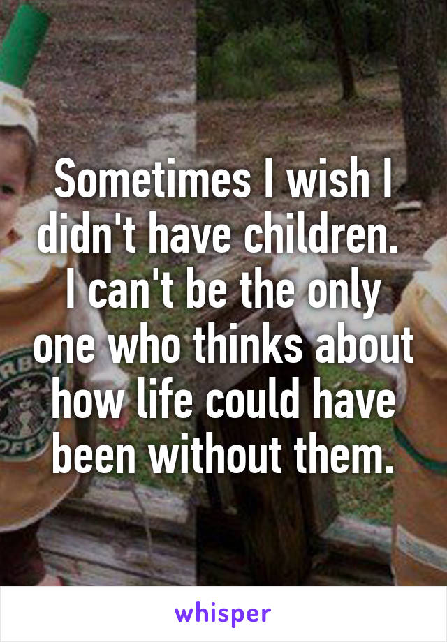 Sometimes I wish I didn't have children.  I can't be the only one who thinks about how life could have been without them.