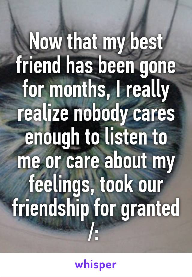 Now that my best friend has been gone for months, I really realize nobody cares enough to listen to me or care about my feelings, took our friendship for granted /: