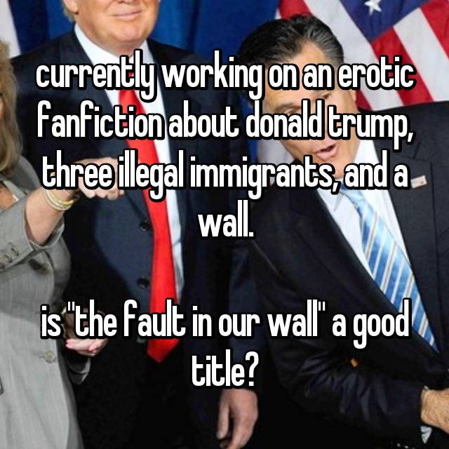 "currently working on an erotic fanfiction about donald trump, three illegal immigrants, and a wall.  is ""the fault in our wall"" a good title?"