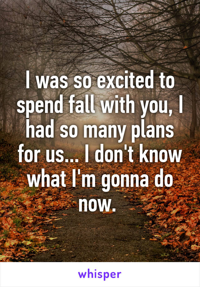 I was so excited to spend fall with you, I had so many plans for us... I don't know what I'm gonna do now.