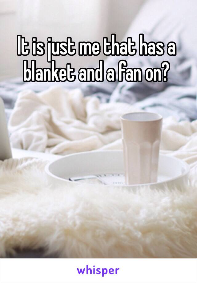 It is just me that has a blanket and a fan on?