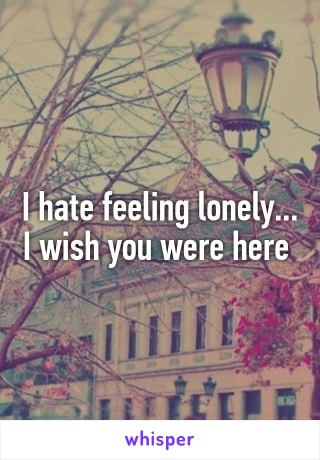 I hate feeling lonely... I wish you were here