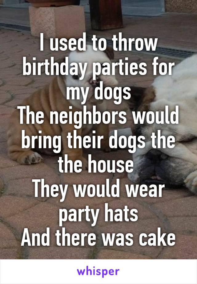 I used to throw birthday parties for my dogs The neighbors would bring their dogs the the house  They would wear party hats And there was cake