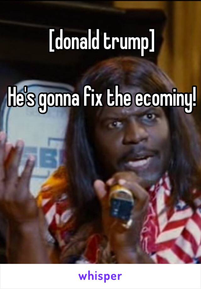 [donald trump]  He's gonna fix the ecominy!
