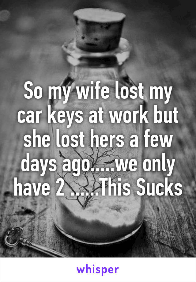 So my wife lost my car keys at work but she lost hers a few days ago.....we only have 2 ......This Sucks