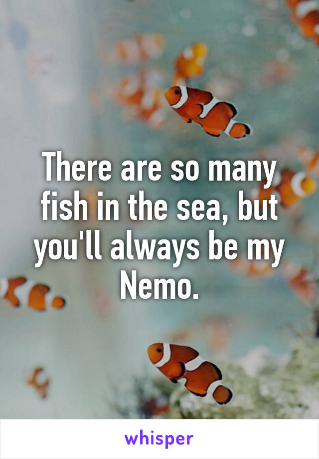 There are so many fish in the sea, but you'll always be my Nemo.
