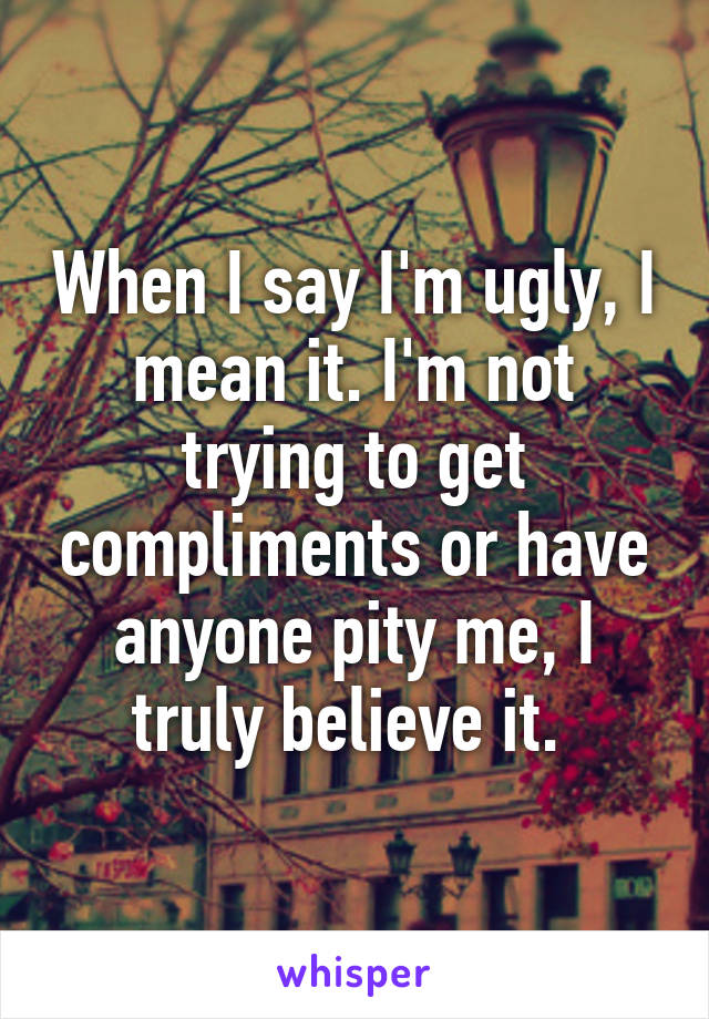 When I say I'm ugly, I mean it. I'm not trying to get compliments or have anyone pity me, I truly believe it.