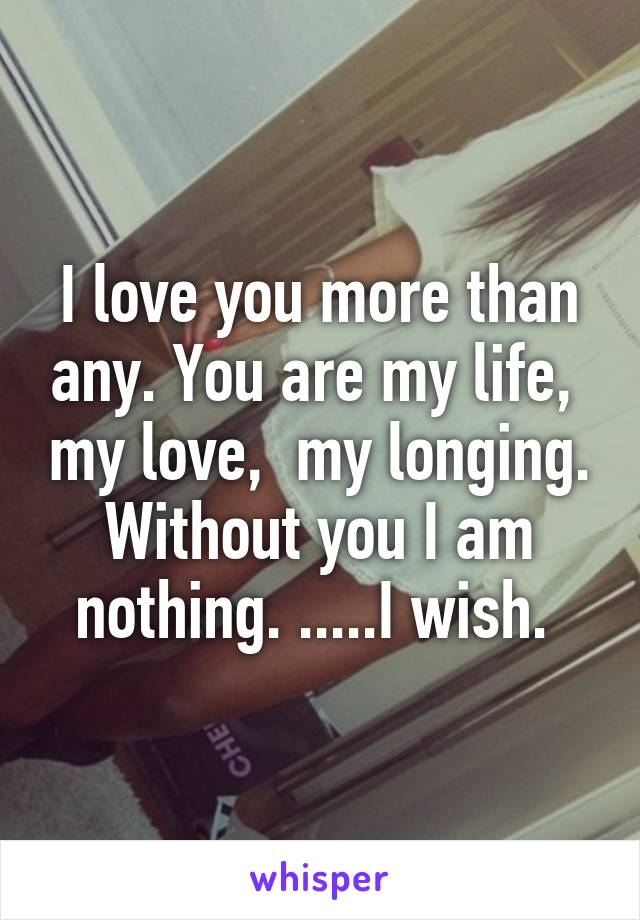 I love you more than any. You are my life,  my love,  my longing. Without you I am nothing. .....I wish.