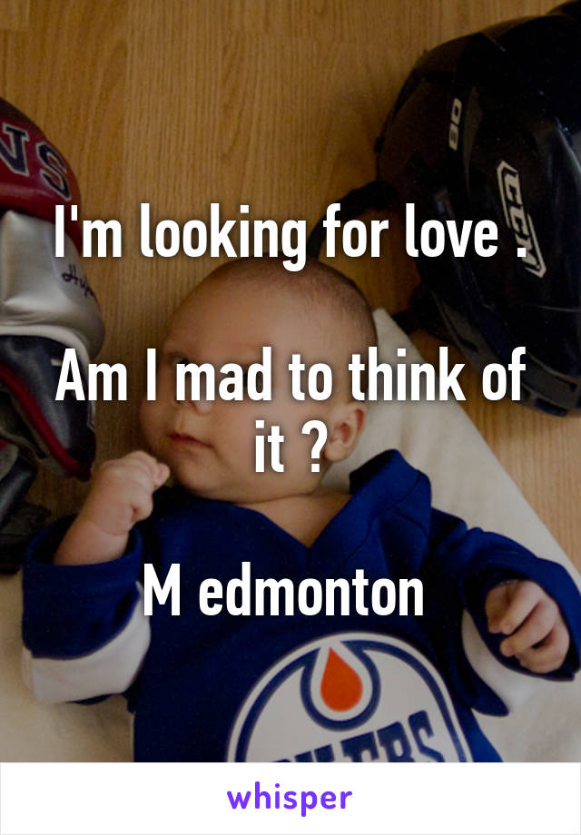 I'm looking for love .  Am I mad to think of it ?  M edmonton