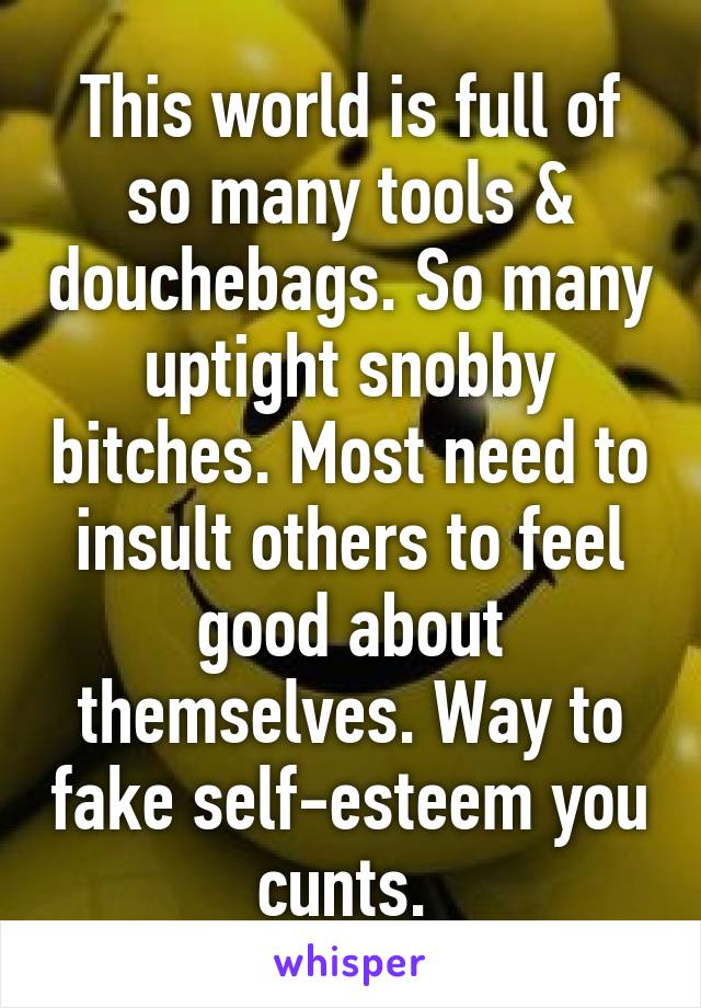 This world is full of so many tools & douchebags. So many uptight snobby bitches. Most need to insult others to feel good about themselves. Way to fake self-esteem you cunts.