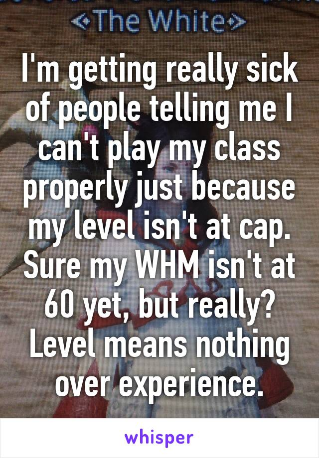 I'm getting really sick of people telling me I can't play my class properly just because my level isn't at cap. Sure my WHM isn't at 60 yet, but really? Level means nothing over experience.