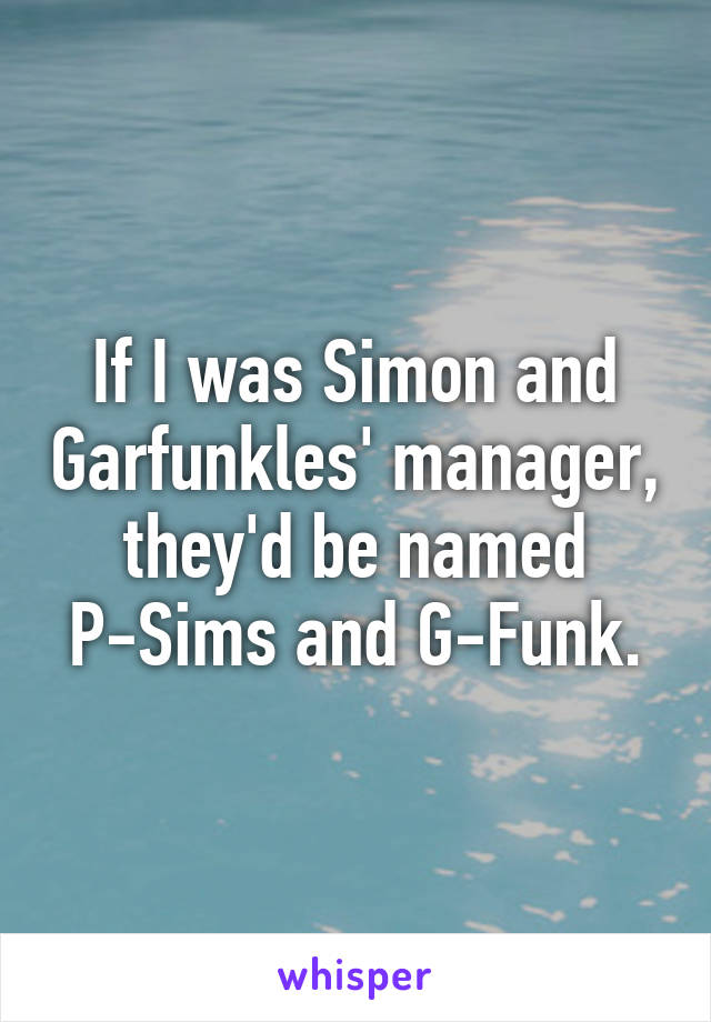 If I was Simon and Garfunkles' manager, they'd be named P-Sims and G-Funk.