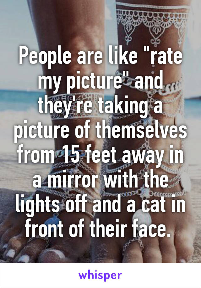 """People are like """"rate my picture"""" and they're taking a picture of themselves from 15 feet away in a mirror with the lights off and a cat in front of their face."""