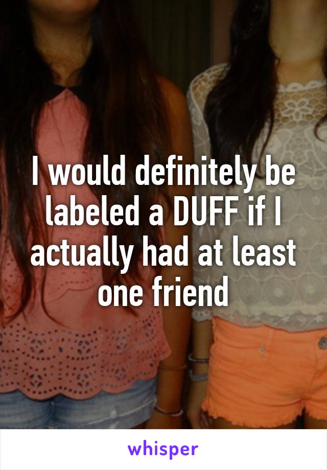 I would definitely be labeled a DUFF if I actually had at least one friend
