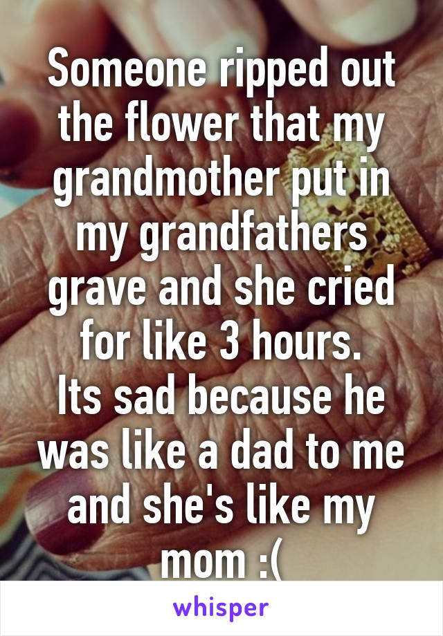 Someone ripped out the flower that my grandmother put in my grandfathers grave and she cried for like 3 hours. Its sad because he was like a dad to me and she's like my mom :(