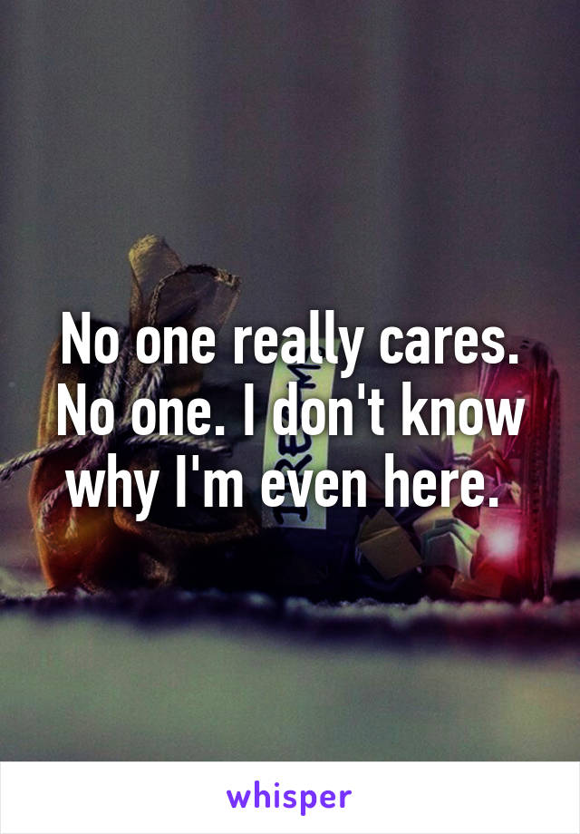 No one really cares. No one. I don't know why I'm even here.